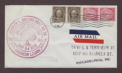 mjstampshobby 1930 US American Legion Air-Mail Cover Used VF Cond (Lot4211)