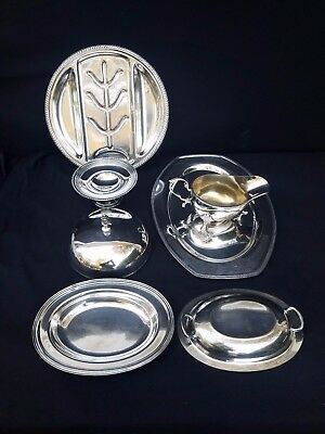Mixed Vintage Lot Silver Plated  Trays Lids Gravy Boat, etc.