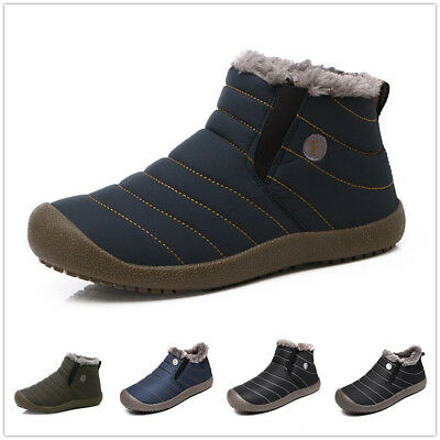 SITAILE Mens Winter Snow Ankle Boots Fur Lined Casual Shoes Outdoor Slippers