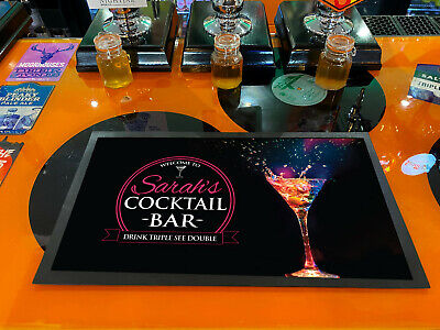 Personalised with any name pink label cocktail glass bar runner mat Bars Clubs