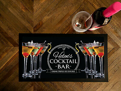 Personalised with any name cocktail glasses bar runner mat Bars Clubs