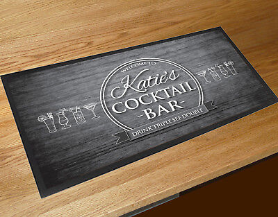 Personalised with any name cocktail B&W wood effect bar runner mat Bars Clubs