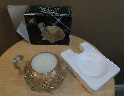 """Vintage """"SPARKLING TURTLE"""" Avon GLASS Turtle w MEADOW Morn Fragrance CANDLE_BOX"""