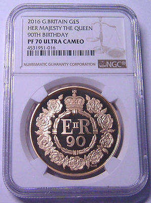 Great Britain 5 Pounds 2016 Gold NGC PF-70UC Queen 90TH Birthday Mtg:1200