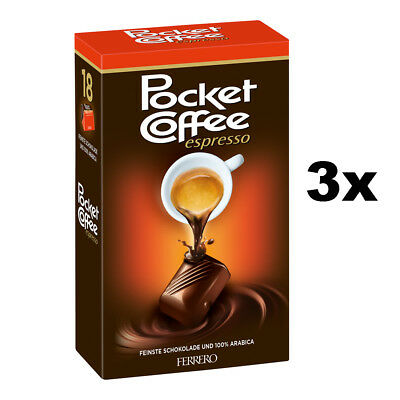 3x Ferrero Pocket Coffee 18 piece box - Total 775g
