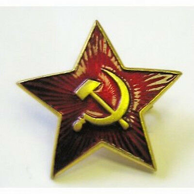 Original USSR Russian Army Small Badge RED Star for forage-cap hat (Pilotka)