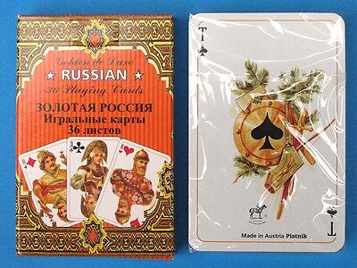 "Russian Style 36 Playing Cards deck ""Golden Russia"". MFD Piatnik Austria"