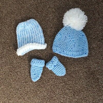 boys newborn blue knitted hats and mittens