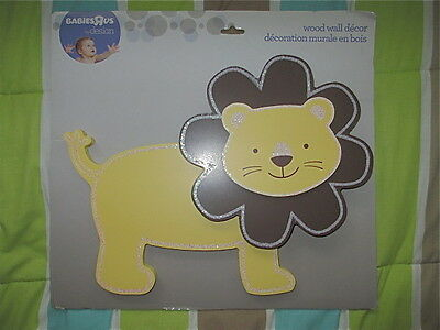 July Aug Leo Babies-R-Us Yellow Brown Lion Wood Wall Decor Large 13-1/2 X 10-1/2