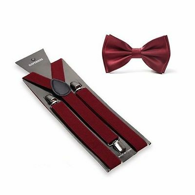 Burgundy Suspenders and Bow Tie Matching Set Wedding Prom Quinceañera Maroon