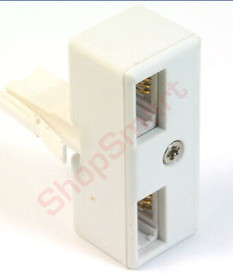 Telephone 2 Way Splitter Adapter Double Socket Bt Phone
