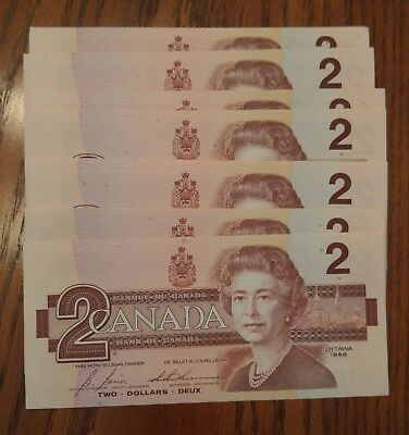 Individual 1986 Canada Two Dollar ($2) Banknote - Uncirculated / consecutive #s