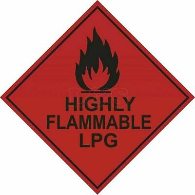 Highly Flammable LPG Hazard Warning Diamond Label 100mm x 100mm
