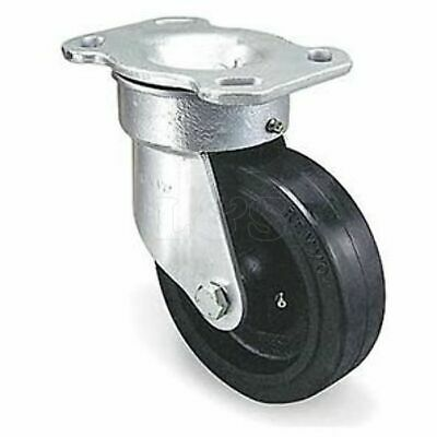 "8"" Rubber Heavy Duty Swivel Castor Wheel - Steel Frame, Cast Iron Hub - Capacit"