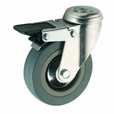 "3"" Grey Rubber Swivel Castor Wheel Braked"