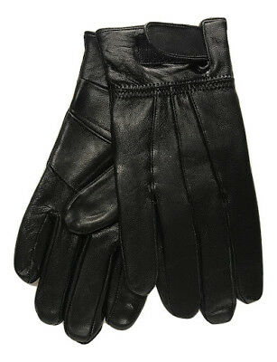 Men's New Soft Real Leather Fleece Lined Warm Winter Gloves With Velcro Strap