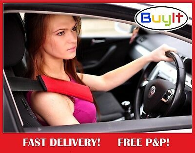 Seat Belt Safety Cover Cushioned Pads Shoulder Strap Harness Red