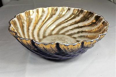 Large Vintage Taylor, Smith & Taylor Bowl, Blue and Gold Swirl Design, Rare