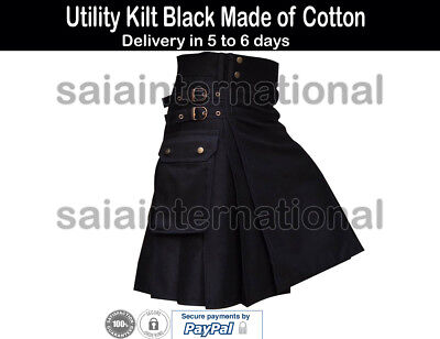 "Black Utility Kilt 30"" to 50"" Made of Cotton and Delivery in 5 to 7 days"