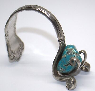 Wm Rogers & Son Silver Plate Fork Art Cuff Bracelet With Turquoise Stone #dbw