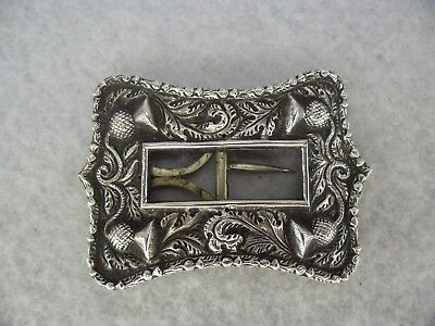 Antique SCOTTISH Victorian Solid SILVER Thistle Design Buckle