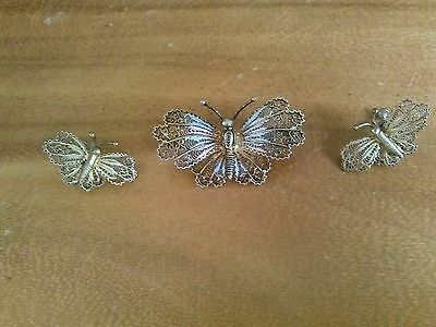 Vintage Sterling Butterfly Pin and Earrings Set
