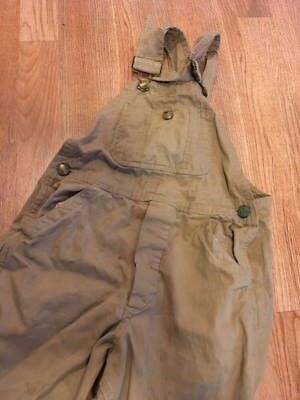 Vintage 1950's Sanforized Boys Brown Denim Overalls Button Fly Distressed 24x18