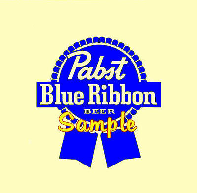 Pabst Blue Ribbon Beer Chrome Vinyl Decals Sign Stickers 30 Colors