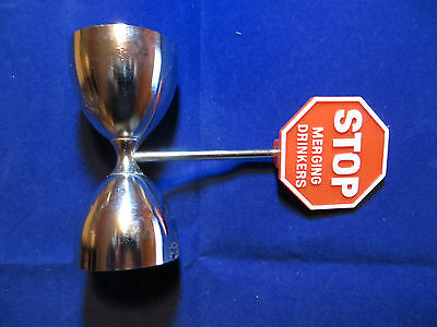 Vintage Mid-Century Stop Sign Double Jigger Cocktail Measure Tool