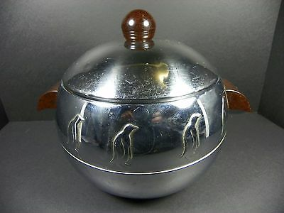 Vintage West Bend Penguin Hot and Cold Ice Bucket with Marbled Bakelite Handles