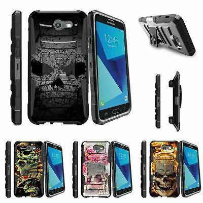 For Samsung Galaxy On7 | J7 Prime | J7 Halo (2017) Stand Clip Case Faded Skull