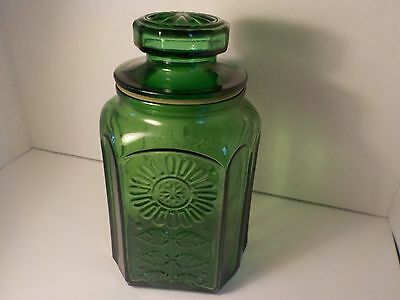 Wheaton SunFlower Emerald Green Vintage Glass Bottle Canister  9 1/2 tall