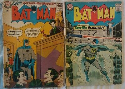 Batman Comics Lot of 2 Issues 163 and 166 Silver Age Vintage DC Comic Books
