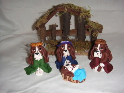 Handmade Clay Basset Hound Dog Nativity Set of 4 Pieces