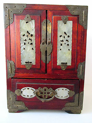 Vintage Oriental Jewelry Box Carved Jade Doors and Etched Brass Hinges