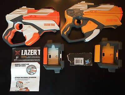 Set of 2 Complete Nerf Lazer Tag Single Blaster Battle Pack Iphone Ipod Games