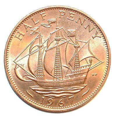 GREAT BRITAIN one HALF PENNY 1967 ship lot coin UK BU UNCIRCULATED WOW