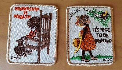 Vintage HTF AGC Holly Hobbie  Cat PATCH Lot of two Friendship Nice to be Wanted