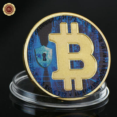 WR Bitcoin 24K Gold Plated Clad BTC Coin Physical Digital Currency Collectible