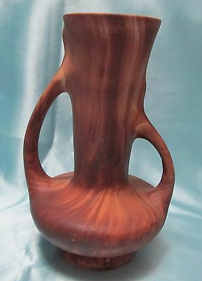 1950s Rocky Mountain Pottery Double Handle Vase Wood Grain 7 1/2 tall.