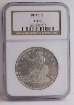 1877-S Trade Silver Dollar NGC AU-50