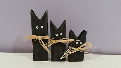 Primitive Halloween Wood Black Cats set of three Fall Decorations