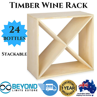 24 Bottles Timber Wine Rack Storage Cellar Red White Wooden Pine Stand Organiser