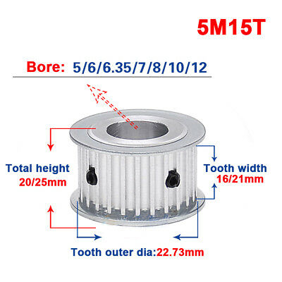 HTD 5M-15T-16/21W Bore 5/6/7/8/10/12mm Pitch 5mm Timing Belt Drive Pulley 15T