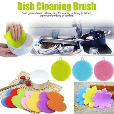 Multi-function Silicone Dish Washing Cleaning Brush Sponge Kitchen Cleaner Tools