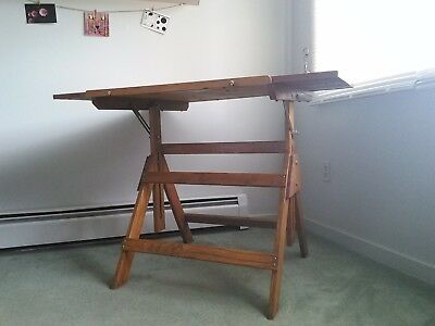 Vintage Oak Drafting Table/ Art Desk