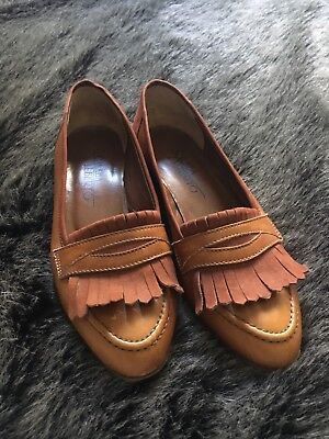 Vntg 80s Calaba Alberto Made In Italy Brown Leather Suede Fringe Loafers Sz35