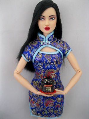 OOAK Repaint Barbie Asian Momoko articulated Art fashion Joy Luck Doll by Ashley