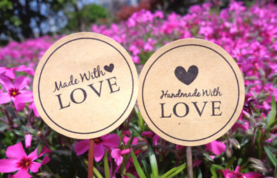 60 x Kraft Made with Love / Handmade with Love Stickers Heart Party Gift Favours