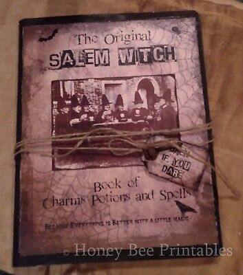 Primitive Halloween Journal Tuck Salem Witch Book of Charms Potions & Spells
